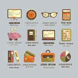 Boekhoudings vlakke pictogrammen Stock Foto