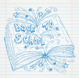 Boekkrabbel op papier, terug naar de Illustratie van Schoolsketchbook Stock Foto's
