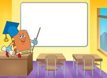 Boekleraar door whiteboard Stock Foto