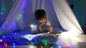 Boeklezing, slim jong geitje in bril die sprookjes in flitslichtverlichting lezen die in tent met slingers liggen bij stock footage