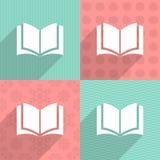 Boekpictogram op kleurrijke achtergronden Stock Foto