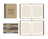 Boekplan Vector vlakke die illustratie op wit wordt geïsoleerd Hoogste mening, open pagina's, abstracte tekstlijn, hardcover stock illustratie
