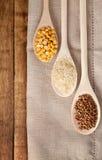Boekweit, rijst en erwten Stock Afbeeldingen