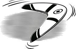 Boemerang in de lucht wordt geworpen die vector illustratie