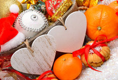Bożenarodzeniowa dekoracja, sosnowa gałązka, karta dla teksta Obraz Stock