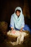 Bożenarodzeniowa narodzenie jezusa scena z lalą Obrazy Royalty Free