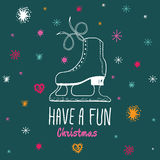 Bożenarodzeniowa rocznik karta z z ręki rysować lodowymi łyżwami i tekst 'zabaw boże narodzenia Zdjęcie Stock
