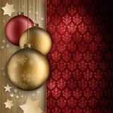 Bożenarodzeniowi baubles, gwiazdy i przestrzeń dla teksta, Fotografia Stock