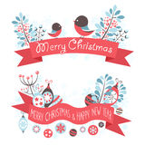 Bożenarodzeniowi powitanie sztandary z dekoracyjną zimą  Fotografia Royalty Free