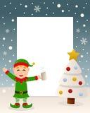 Bożenarodzeniowy Biały drzewo - Pijący Zielony elf Obraz Royalty Free