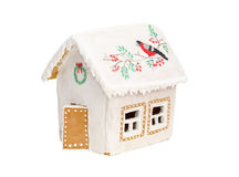 Bożenarodzeniowy piernikowy dom z ptakiem, wianek Obrazy Stock