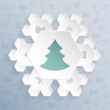 Bożenarodzeniowy powitanie z płatków śniegu kształtnymi sześciokątami Zdjęcie Royalty Free