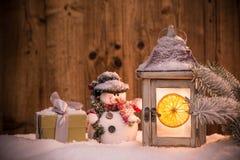 Bożenarodzeniowy tło z lampionem Zdjęcie Royalty Free