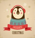 Bożenarodzeniowy tło z modnisia pingwinem Fotografia Royalty Free