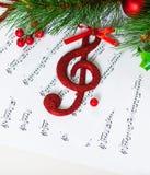 Bożenarodzeniowy treble clef Zdjęcie Royalty Free