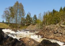 Boenfossen, la cascade chez Boen, en rivière Salmon populaire Tovdalselva, dans Kristiansand, la Norvège Photographie stock libre de droits