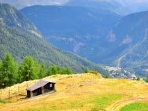 Boerderij in bergen stock foto
