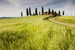 Boerderij in Toscanië dichtbij Pienza, Italië Stock Afbeeldingen