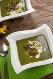 Boerenkool-aardappel Soep met Amandel Royalty-vrije Stock Afbeeldingen