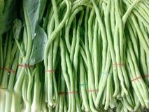 Boerenkool en Yardlong-bonen in markt Royalty-vrije Stock Foto's
