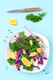 Boerenkool oranje salade royalty-vrije stock afbeeldingen
