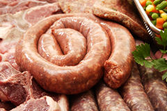 Boerewors On Meat Stock Photos