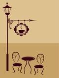 Boeuf antique avec le fance et le signe du café Photo stock