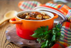 Boeuf Bourguignon. With carrots,onions and mushrooms Royalty Free Stock Images