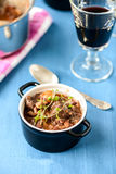 Boeuf bourguignon classic french beef stew on blue table with a Stock Photo