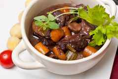 Boeuf bourguignon with fresh herbs Royalty Free Stock Images