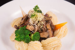 Boeuf Bourguignon topped with parmesan cheese, broccoli, parsley, carrot, and creamy mashed potato. On black background Royalty Free Stock Photography