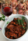 Boeuf bourguignonne bowl vertical Royalty Free Stock Images