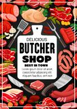 Boeuf de viande de boucherie, saucisses gastronomes de boucherie illustration stock