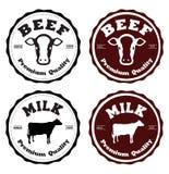 Boeuf et lait de label Photographie stock