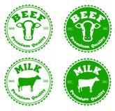 Boeuf et lait de label Image libre de droits