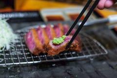 Boeuf frit avec le wasabi Photos libres de droits