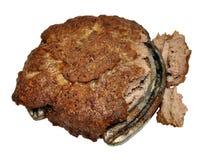 Boeuf Patty cuit souillée avec de la viande de cheval Photographie stock libre de droits