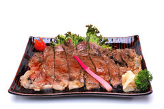 Boeuf Teriyaki de Wagyu, d'isolement sur le tapotement blanc de coupure de fond Photo stock
