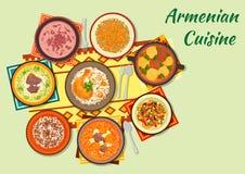 Bogaci i przypraweni naczynia armenian kuchni ikona Zdjęcia Stock