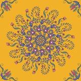 Bogactwo z naszłymi kolorami, piękny średniowieczny ornament Bezszwowy kwiecisty wzór kółkowi kwieciści elementy wektor Obraz Royalty Free