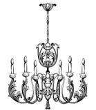 Bogaty Barokowy Klasyczny świecznik Luksusowego wystroju akcesoryjny projekt Wektorowy ilustracyjny nakreślenie royalty ilustracja