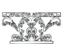 Bogaty baroku stół z luksusowymi ornamentami Obrazy Royalty Free