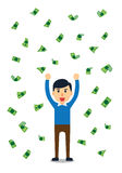Bogaty człowiek szczęśliwy w deszczu pieniądze Obrazy Stock