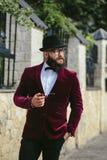 Bogaty człowiek z brodą, myśleć o biznesie Fotografia Stock