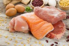 Bogaty odżywki jedzenie rybi kurczaka i mięsa proteiny źródło obraz stock