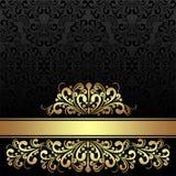 Bogaty ornamentacyjny czarny tło z złotą królewską granicą. royalty ilustracja