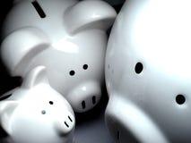 Bogaty Prosiątka Bank Z Złota Monety Pieniądze Obrazy Stock