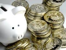 Bogaty Prosiątka Bank Z Złota Monety Pieniądze, Pióro Fotografia Royalty Free
