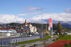 Bogatyr Hotel, attractions of Sochi-Park and mountains in Adler Royalty Free Stock Image