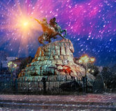 Bogdan Hmelnitsy. Rider on Sofia square, Earth covers the first snow-soon Christmas and New Year, and monuments of Kiev Ukroyut beautiful fluffy carpet Royalty Free Stock Photo